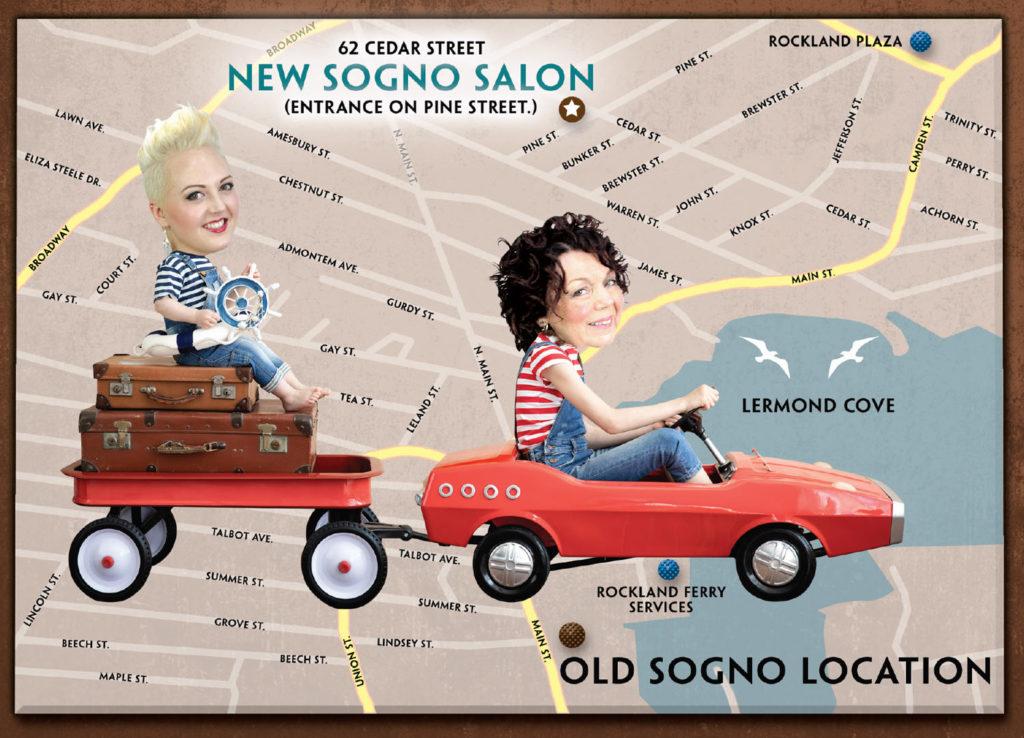 Sogno Salon's new home is 62 Cedar Street in Rockland. Entrance is on Pine Street.